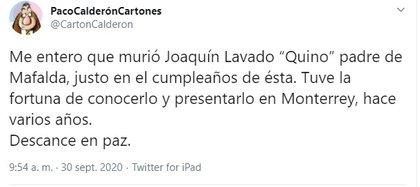 """Paco Calderón es caricaturista de """"Reforma"""""""