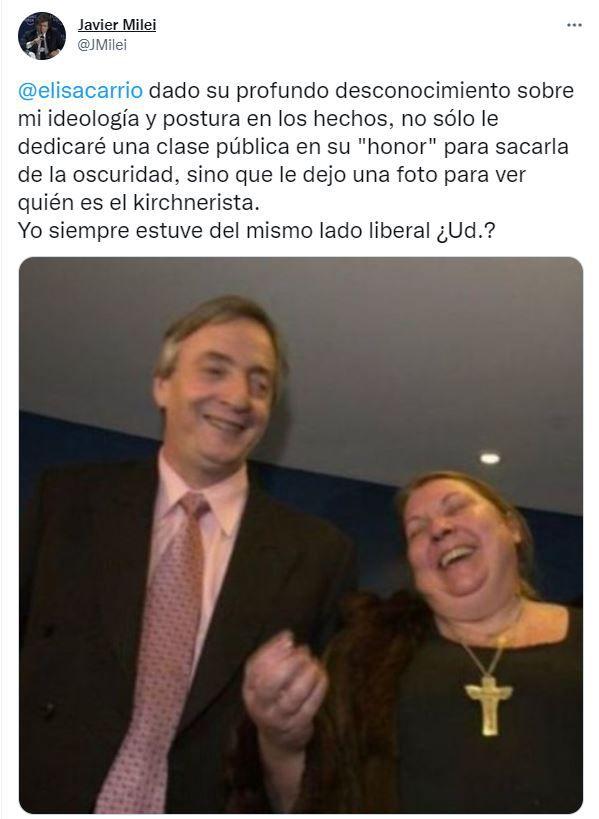 Tuit de Javier Milei en respuesta a Elisa Carrió