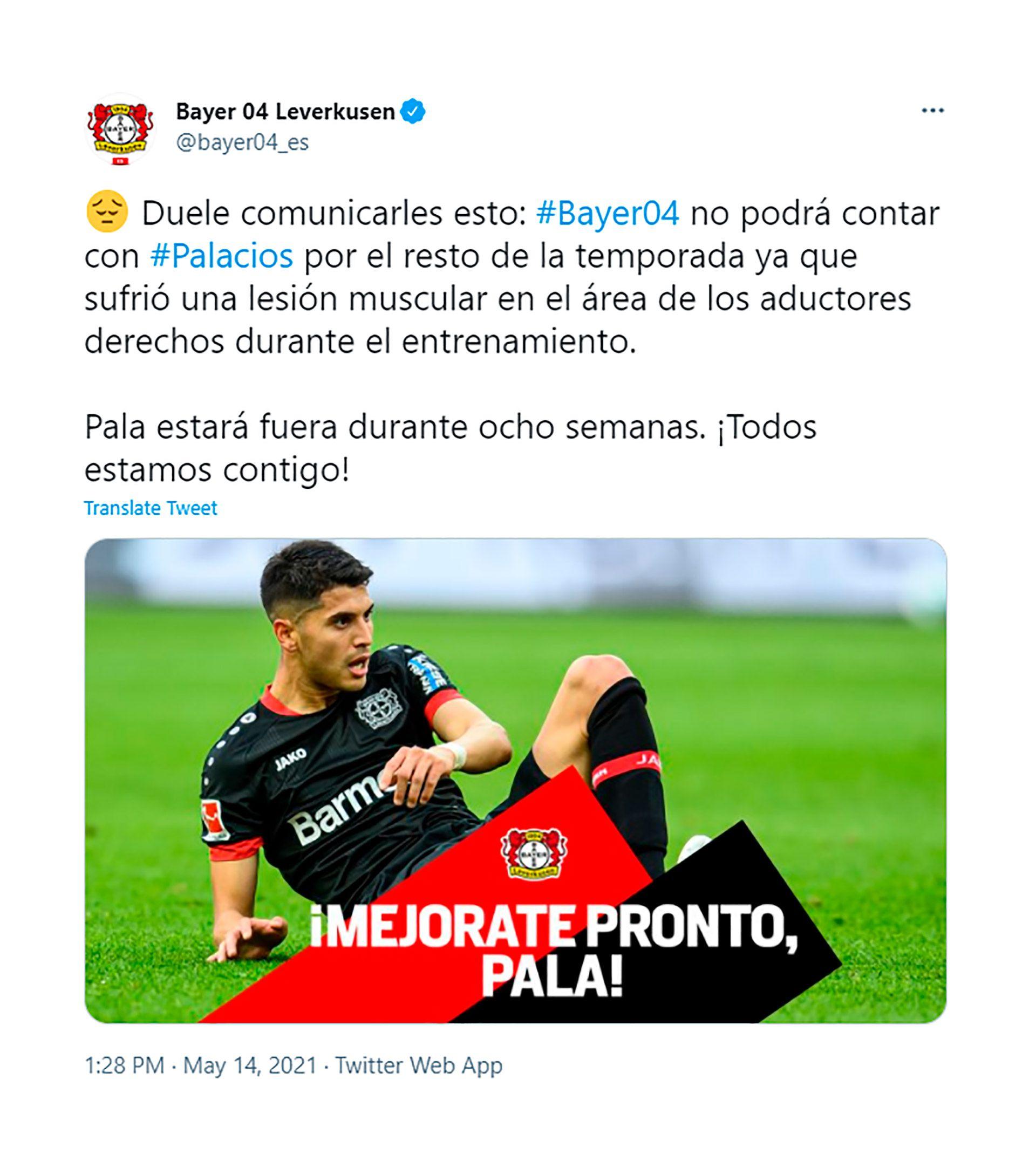 Exequiel Palacios lesión