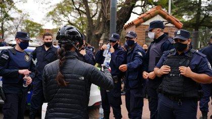 Policías bonaerenses en la protesta (Franco Fafasuli)