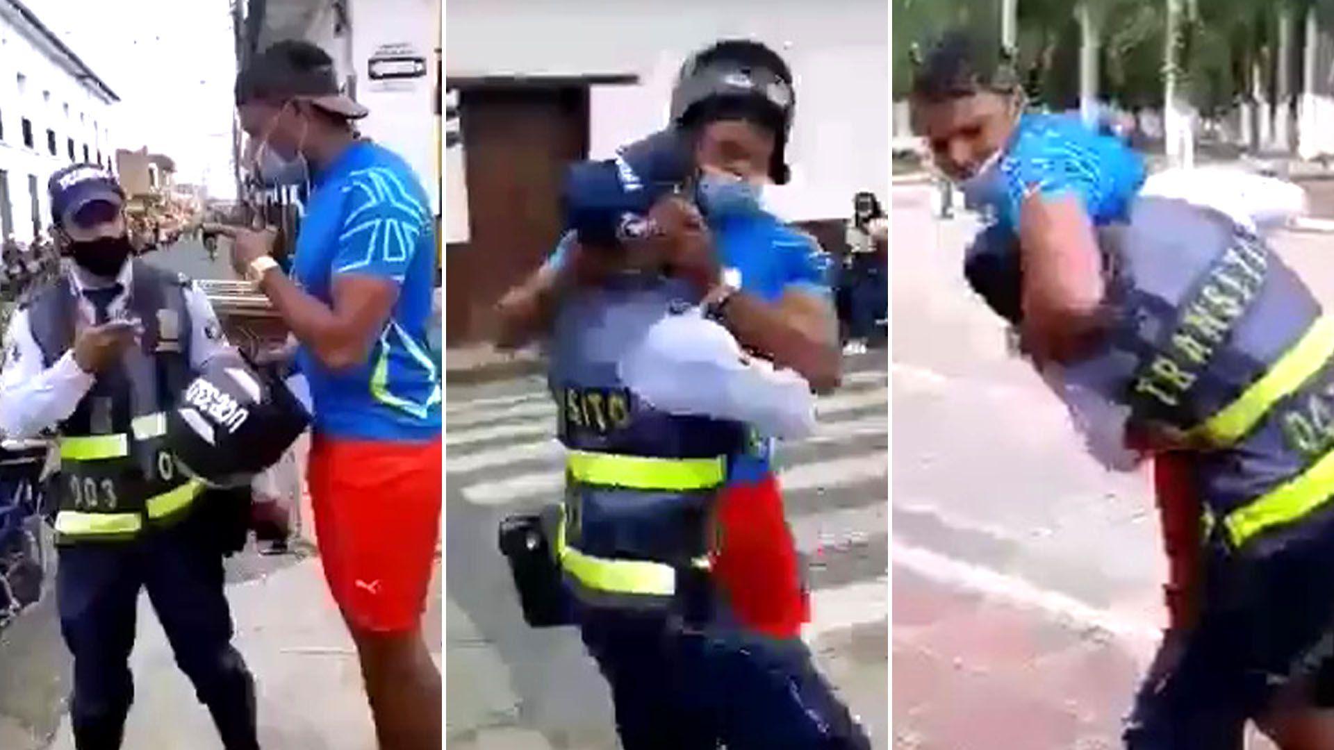 Agente de transito es agredido en El Cerrito Valle del Cauca portada