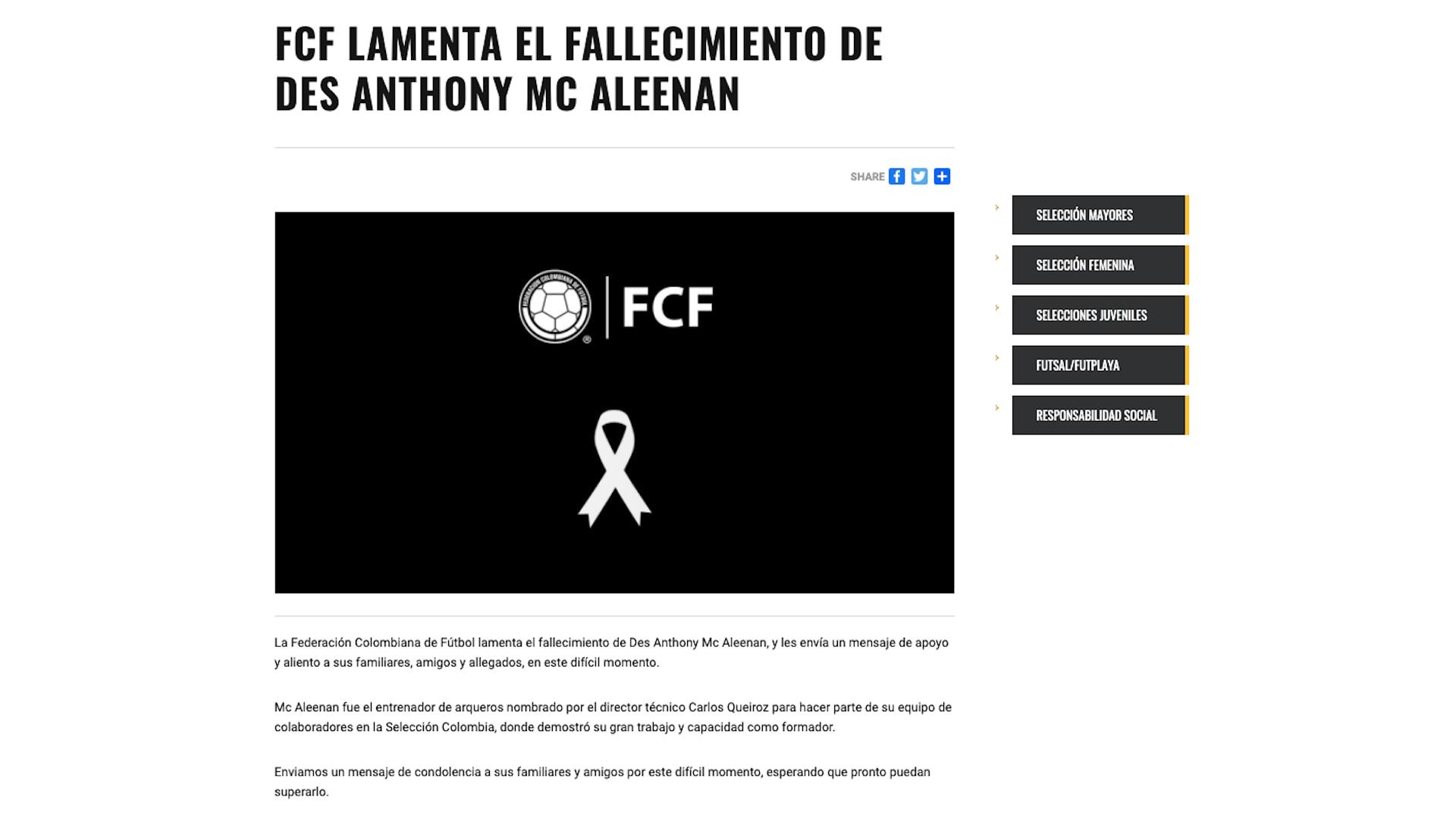 FCF envió mensajes de condolencias para la familia del exentrenador de arqueros de la Selección Colombia, Des Anthony Mc Aleenan / (FCF).