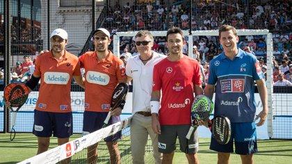 Los protagonistas de la final: Belasteguín, Lima, Gutiérrez y Navarro