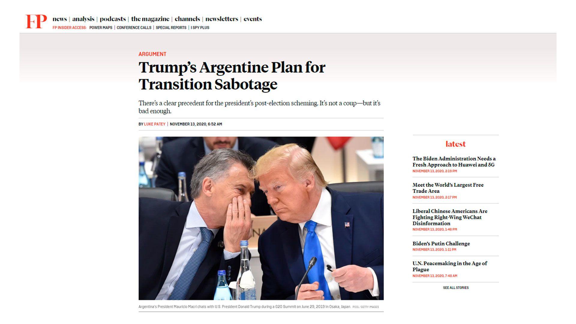 captura macri trump foreign policy