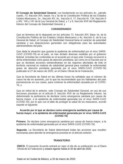 Acuerdo Declaratoria de Emergencia (Foto: Secretaria de Salud)