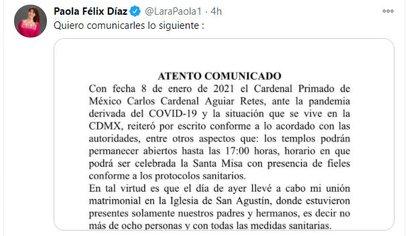 Paola Félix a justifié son mariage (Photo: Twitter)