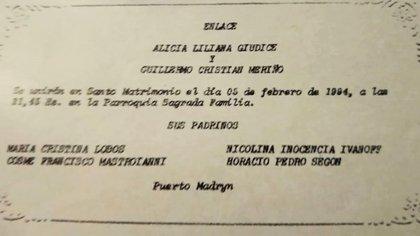 La tarjeta de invitación para la boda de Alicia y Cristian, trunca por su absurda muerte