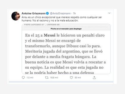 El tuit de Antoine Griezmann