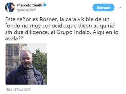 Tuit de Marcelo Tinelli sobre Ignacio Rosner