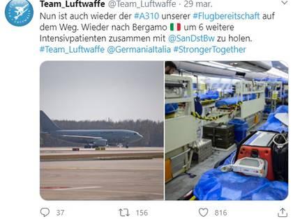 """""""El #A310 de nuestra flota aérea está en camino de nuevo. Volverá a Bérgamo, Italia, para recoger a otros seis pacientes de cuidados intensivos junto con @SanDstBw"""", informó en Twitter la Fuerza Aérea Alemana  (Foto: Team_Luftwaffe)"""