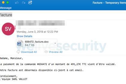 El malware se distribuye a través de un adjunto que llega por correo.