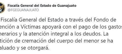 La FGE de Guanajuato anunció que apoyará con el pago de los gastos funerarios (Foto: Twitter/FGEGUANAJUATO)