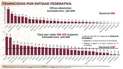 Gráfica de feminicidios en julio 2020 en México