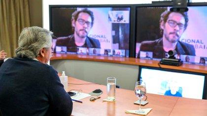 Alberto Fernández en videoconferencia desde la Quinta de Olivos (Presidencia)