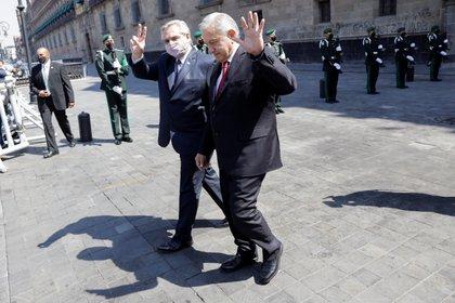Alberto Fernández y Andrés Manuel López Obrador durante su encuentro en el Palacio Nacional de México