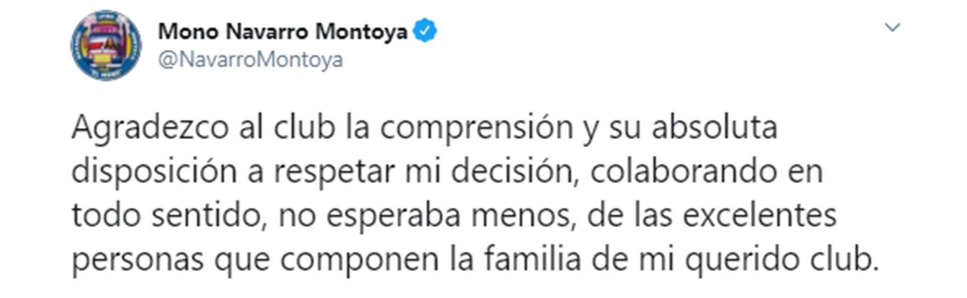 Tuits renuncia Mono Navarro Montoya en Boca