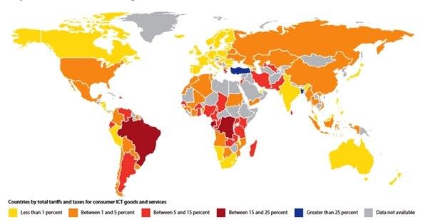 En tonos de rojo fuerte, los países con más aranceles e impuestos a TIC