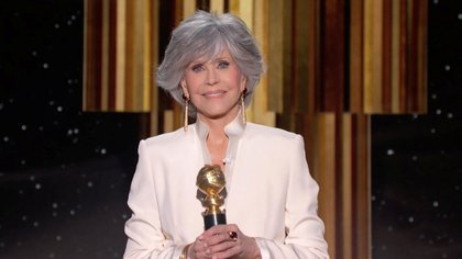 Jane Fonda accepts the Cecil B. DeMille Award in this handout screen grab from the 78th Annual Golden Globe Awards in Beverly Hills, California, U.S., February 28, 2021. NBC Handout/via REUTERS ATTENTION EDITORS - THIS IMAGE HAS BEEN SUPPLIED BY A THIRD PARTY. NO RESALES. NO ARCHIVES.