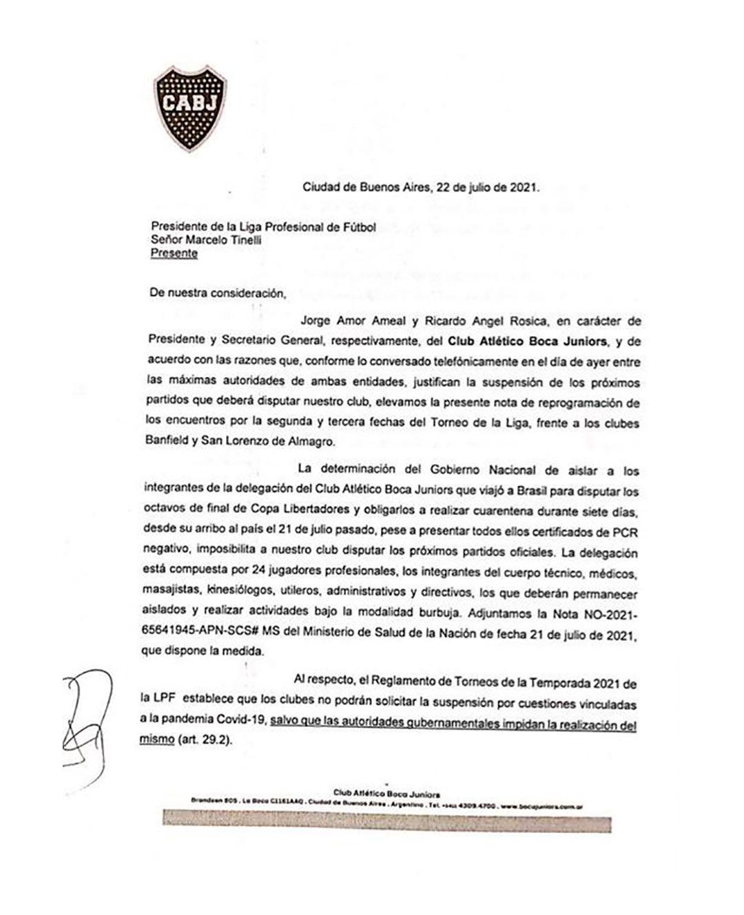 Carta de Boca a Liga Profesional para postergar partidos ante Banfield y San Lorenzo