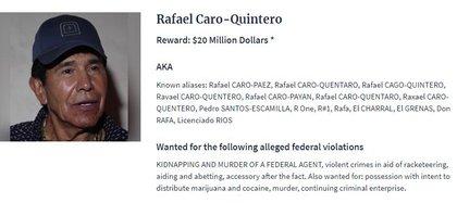 Rafael Caro Quintero encabeza la lista de los más buscados de la Agencia Antidrogas de Estados Unidos (Foto: DEA).