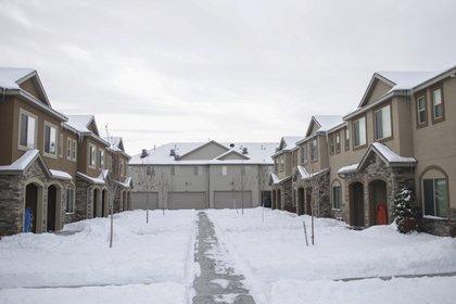 El complejo de casas en Rexburg, Idaho, donde vivían Lori Vallow y Chad Daybell (AP)
