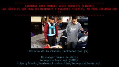 2018: el hackeo a la Policía de la Ciudad para pedir por la libertad de Vélez Cheratto.