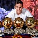 Lionel Messi con los cinco balones de oro de la UEFA que ganó durante su carrera