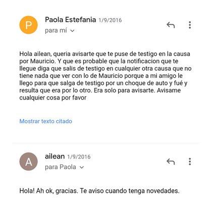 El mail que Paola le envió a una de sus alumnas para avisarle que la presentaba como testigo en una de las causas contra Mauricio Parada