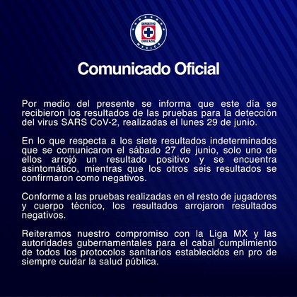 Comunicado de Cruz Azul sobre nuevo caso de COVID-19 (Foto: Cruz Azul)