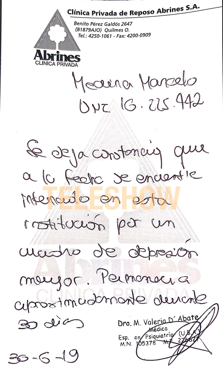 """La orden médica indica que el Teto Medina sufre """"un cuadro de depresión mayor"""""""