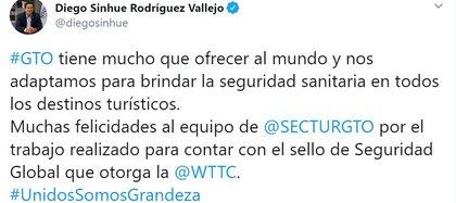 Pese a violencia en la entidad, el gobernador insta a visitar la entidad (Foto: Twitter / @diegosinhue)
