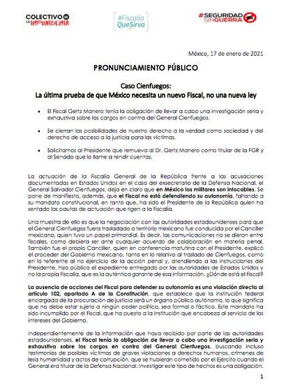 Los firmantes manifestaron su desacuerdo con las acciones del fiscal Gertz Manero frente al caso Cienfuegos (Foto: captura de pantalla)