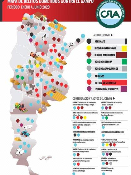 El mapa del delito rural, elaborado por los integrantes de Confederaciones Rurales Argentinas