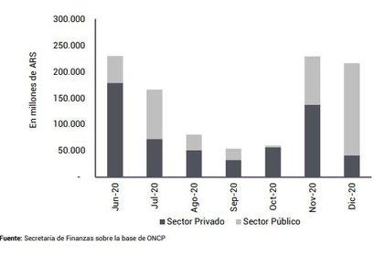 Perfil de vencimientos de capital e intereses, por tipo de acreedor