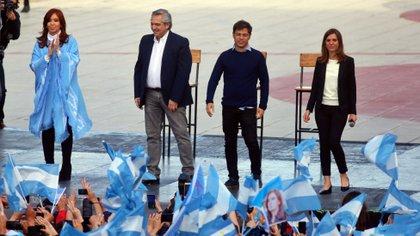 Cristina Kirchner, Axel Kicillof, Alberto Fernández y Fernanda Raverta (Télam)