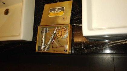 Así lucía la bomba encontrada en un baño de Mundo E (Foto: Especial)
