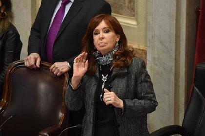Cristina Kirchner durante la sesión en el Senado (Franco Fafasuli)