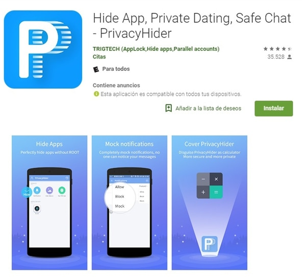 Privacy Hider permite ocultar apps y material audiovisual