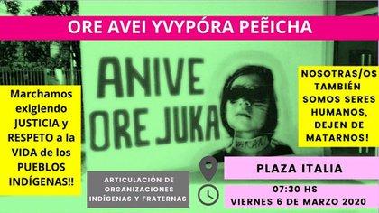 """El 24 de febrero pasado una niña de 12 años, Francisca Araujo Caceres, del Pueblo Ma Guaraní, fue estrangulada y abandonada atada de pies y manos en una mochila en un patio baldío en cercanías de la Terminal de Ómnibus de Asunción. Después del crimen, las agrupaciones indígenas convocaron con este afiche a una marcha para exigir justicia.  """"Ore avei yvypóra peẽicha, anive ore juka!"""" (""""Nosotros también somos seres humanos, dejen de matarnos""""), fue la convocatoria"""