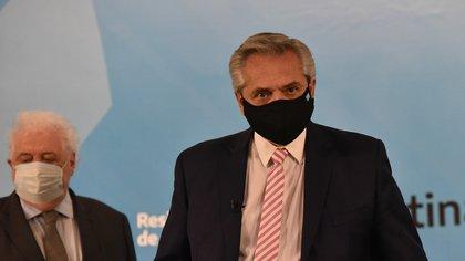 Alberto Fernández y Ginés González García en la Casa Rosada. (Franco Fafasuli)
