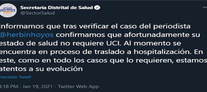 Tweet aclaratorio de la Secretaría de Salud respecto al estado de salud del periodista Herbin Hoyos. Crédito @SectorSalud