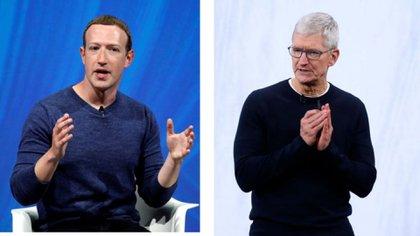 Mark Zuckerberg, CEO de Facebook y Tim Cook, CEO de Apple