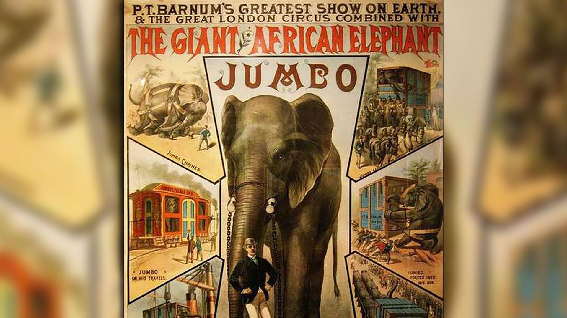 """Afiche del circo de PT Barnum que anuncia la llegada de Jumbo, presentado como """"el elefante más grande del mundo"""". La gira duró 3 años y 9 millones de personas pagaron para verlo y pasear sobre él. (Foto: Wiki Commons)"""
