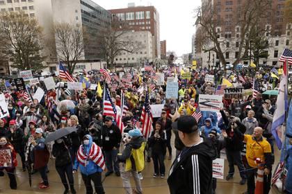 Es la segunda vez en las últimas semanas que los manifestantes se movilizan en Michigan (AFP)