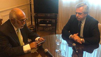 Alberto Fernández y Oscar González Oro en la Casa Rosada