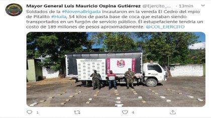 Pronunciamiento del Mayor General Luis Mauricio Ospina Gutiérrez / (Twitter: @Ejercito_Div5).