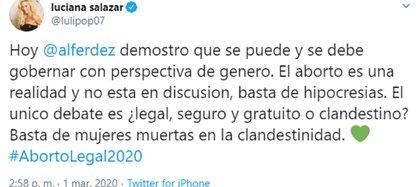 El mensaje de Luciana Salazar sobre el aborto legal