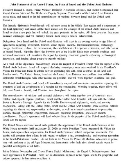 El comunicado conjunto entre Israel, los Emiratos Árabes Unidos y Estados Unidos