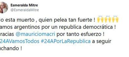El mensaje de apoyo de Esmeralda Mitre para Mauricio Macri