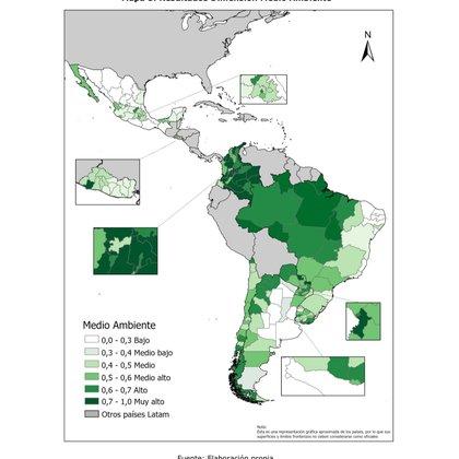 Índice de Desarrollo Regional para América Latina (IDERE LATAM).  Dimensión: medio ambiente.